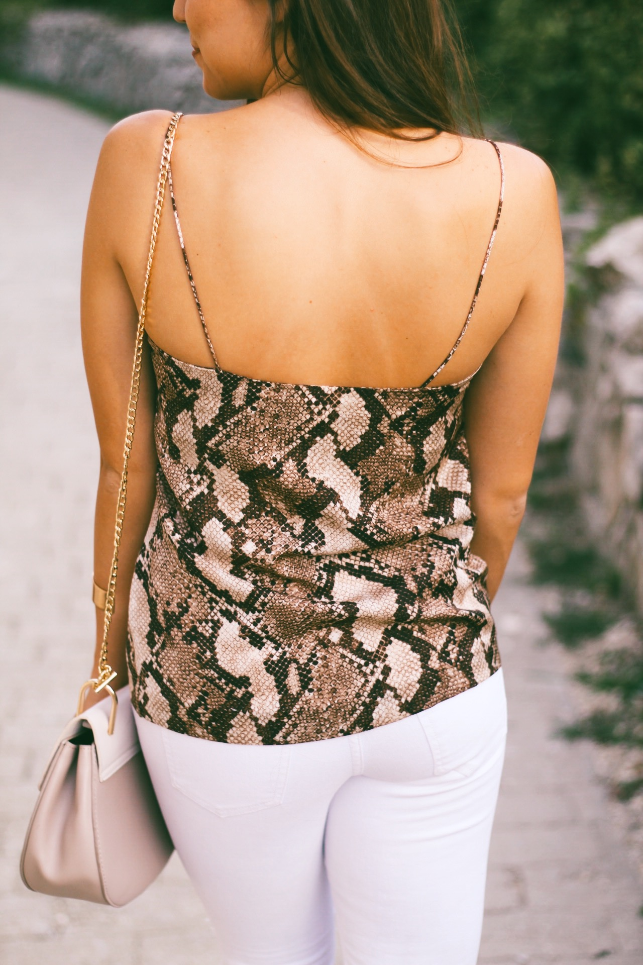 Snake Print + White Denim